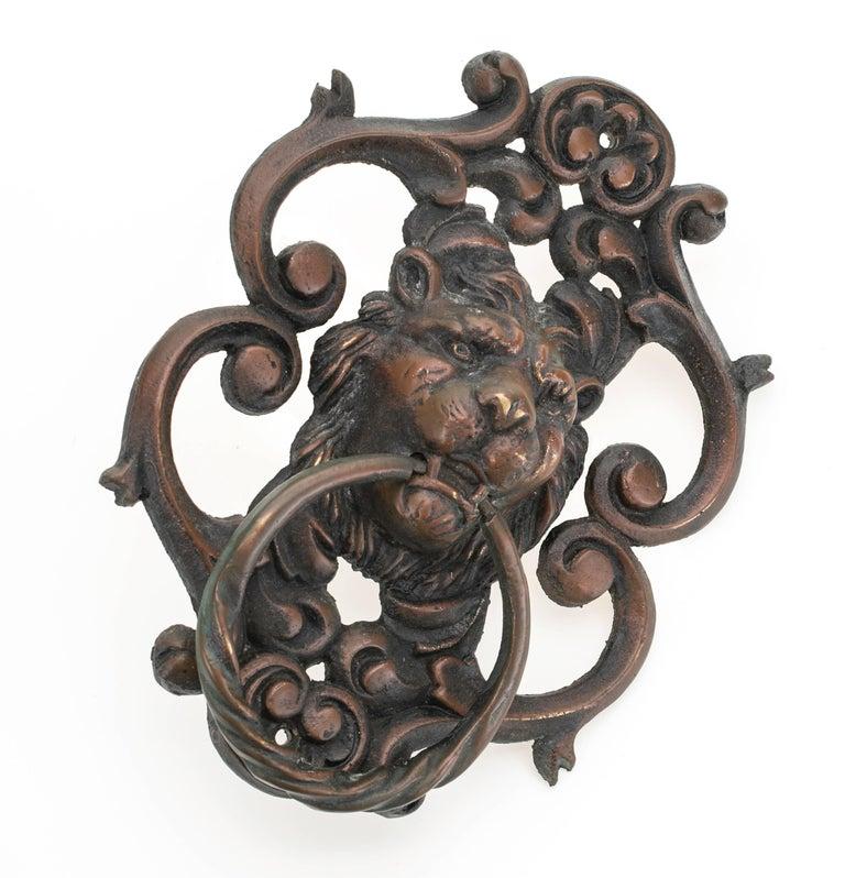 Cast Antique Bronze Lion Face Door Knocker For Sale