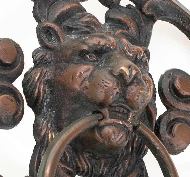 20th Century Antique Bronze Lion Face Door Knocker For Sale
