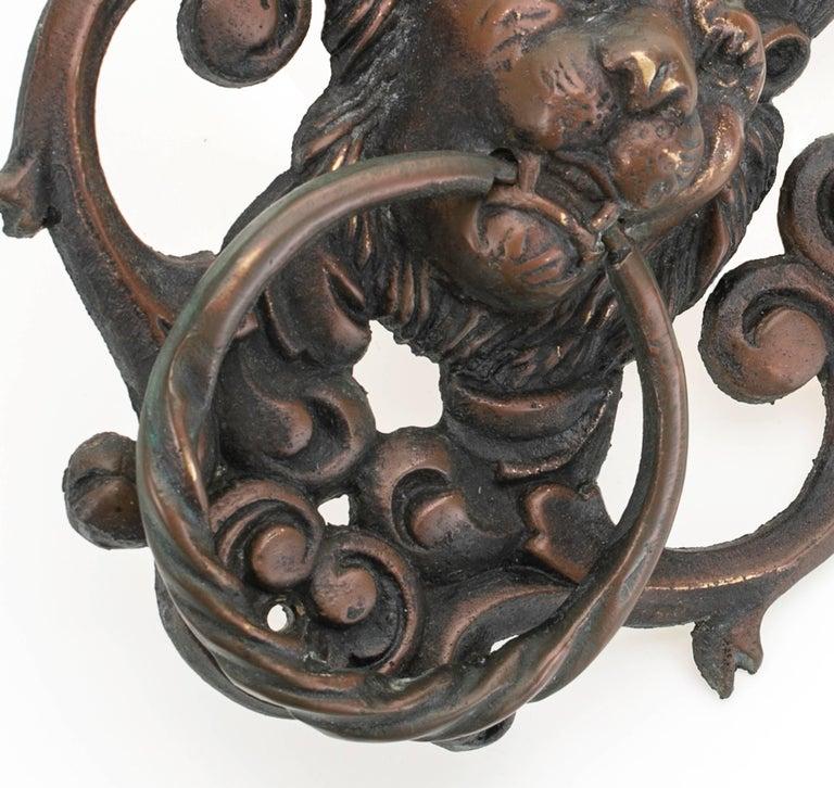 Antique Bronze Lion Face Door Knocker For Sale 1