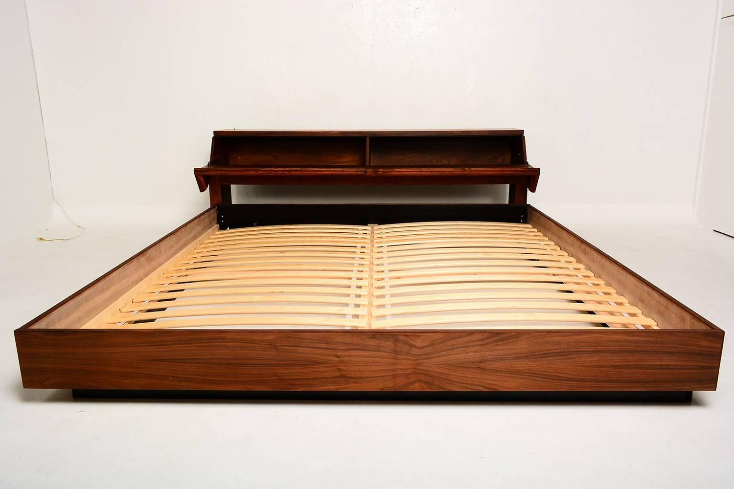 Mid century modern king platform bed in walnut wood at 1stdibs Modern platform beds