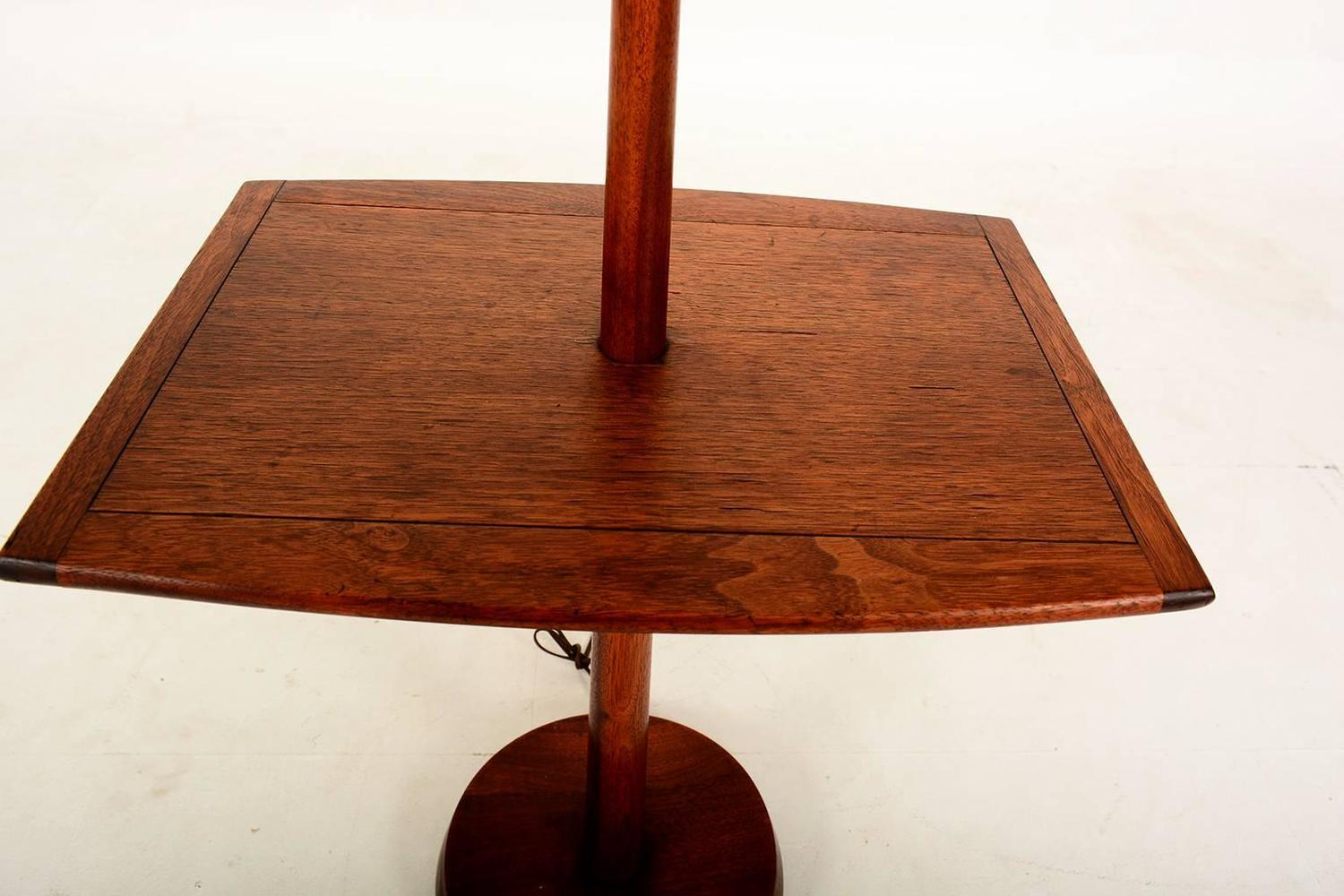 sculptural walnut floor lamp with built in table for sale at 1stdibs. Black Bedroom Furniture Sets. Home Design Ideas