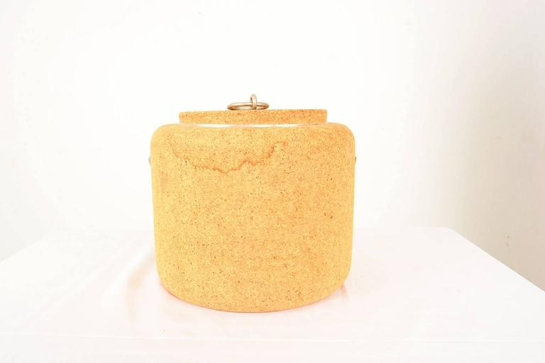 Swedish 1970s Cork Ice Bucket by Signe Persson Melin for Boda Nova Sweden, Midcentury For Sale