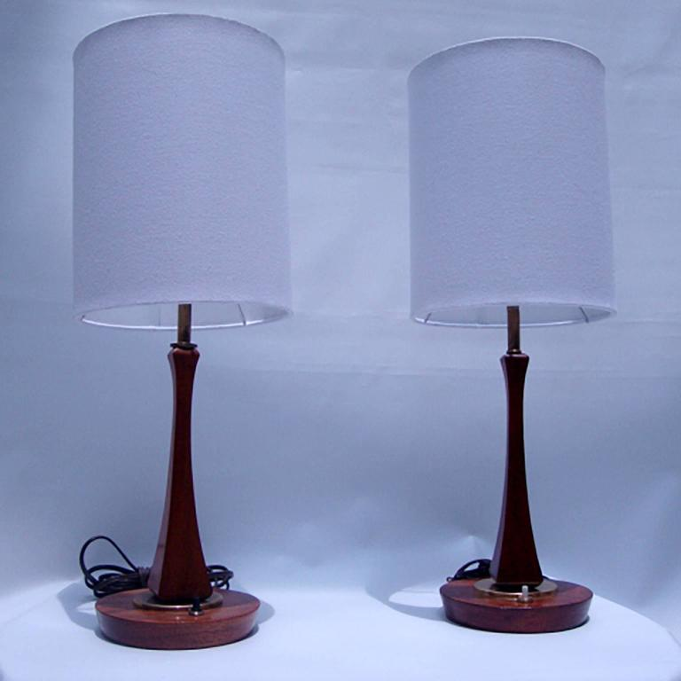 Bronze Pair of Mid-Century Modern Sculptural Table Lamps For Sale