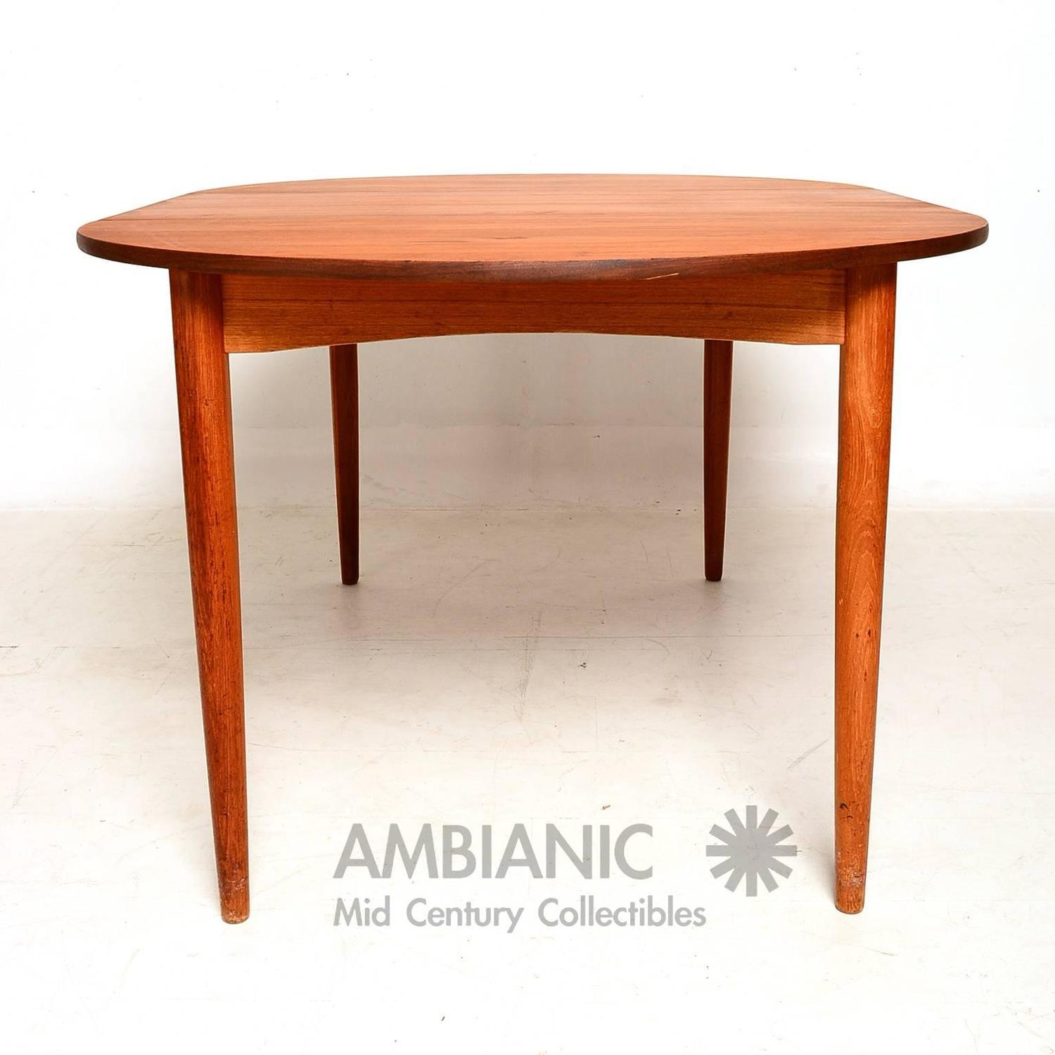danish modern teak round oval dining table for sale at 1stdibs