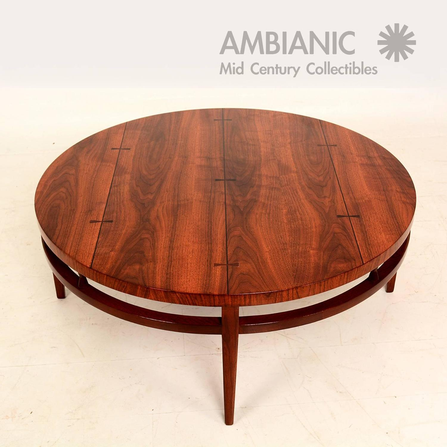 Mid-Century Modern Round Coffee Cocktail Table By Lane