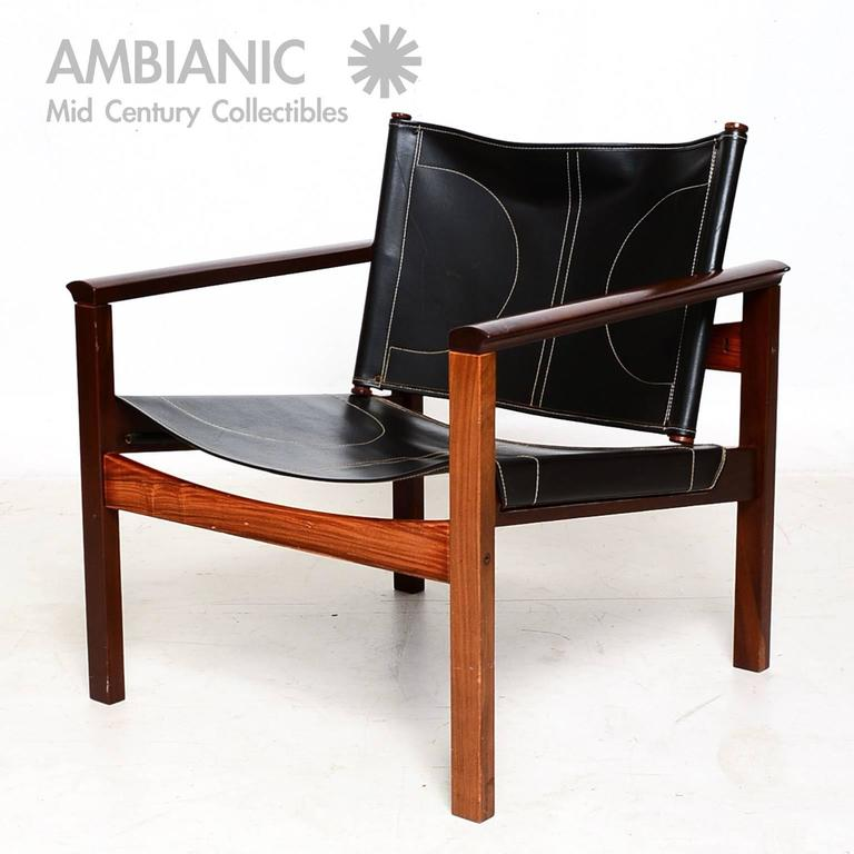 Safari Armchairs Leather And Rosewood Michel Arnoult For Sale At 1stdibs