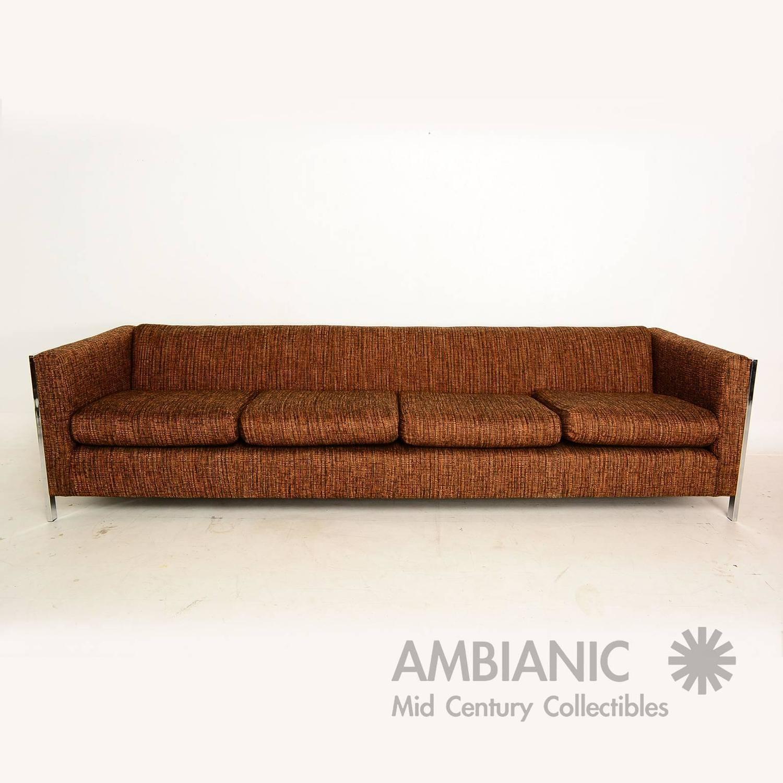 Mid Century Modern Long Sofa With Chrome Legs After Milo