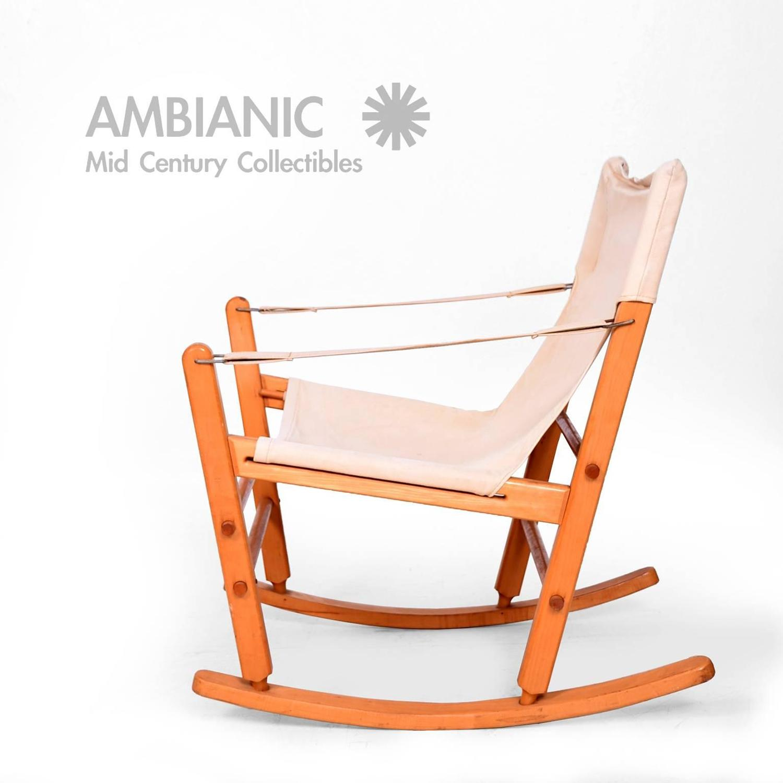 mid century modern safari chair rocker solid maple canvas