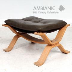 Midcentury Danish Modern Leather Ottoman, 1960s