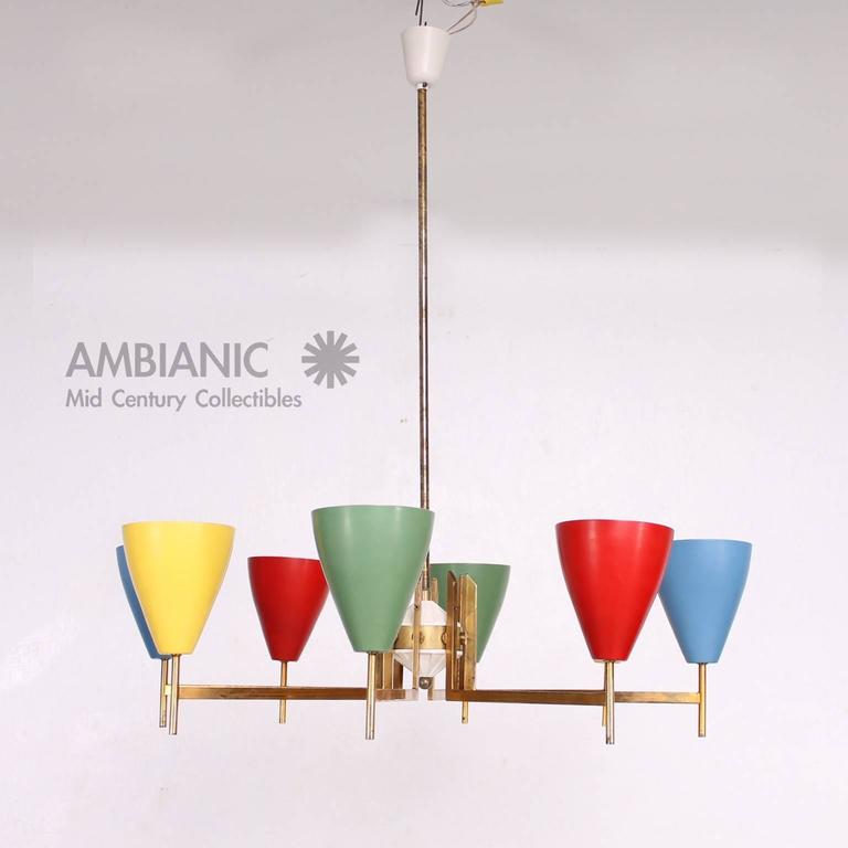 Painted Mid-Century Modern Italian Chandelier after Arredoluce For Sale