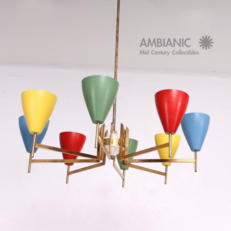 Mid-Century Modern Italian Chandelier after Arredoluce In Excellent Condition For Sale In National City, CA