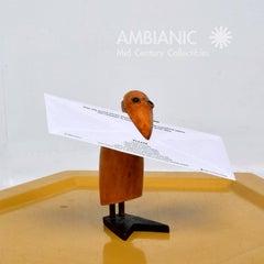 1950's Wooden Bird figurine Clip. Mid Century.