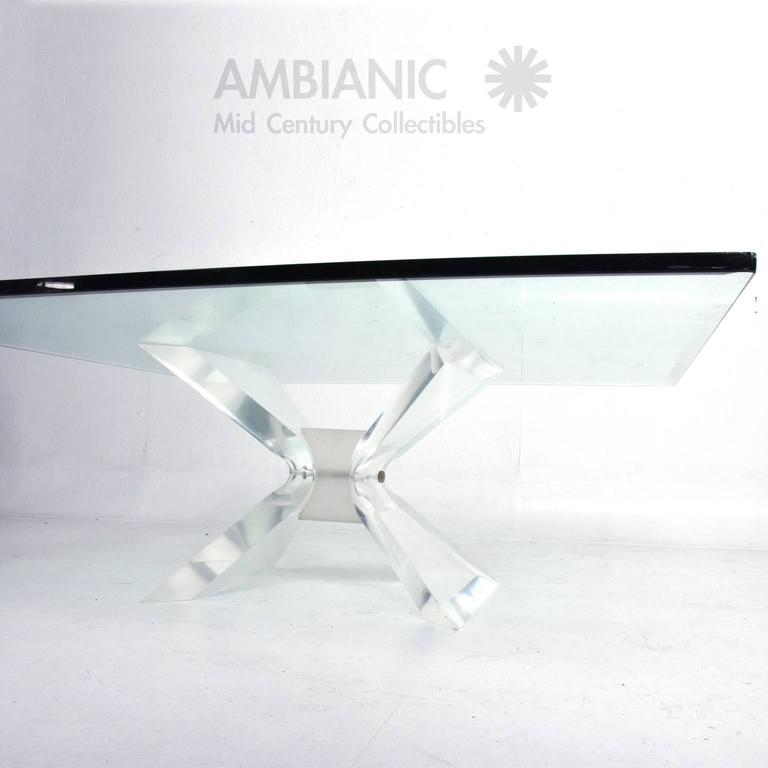 American Leon Frost Lucite and Glass Coffee Table For Sale
