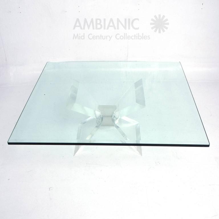 Leon Frost Lucite and Glass Coffee Table In Good Condition For Sale In National City, CA