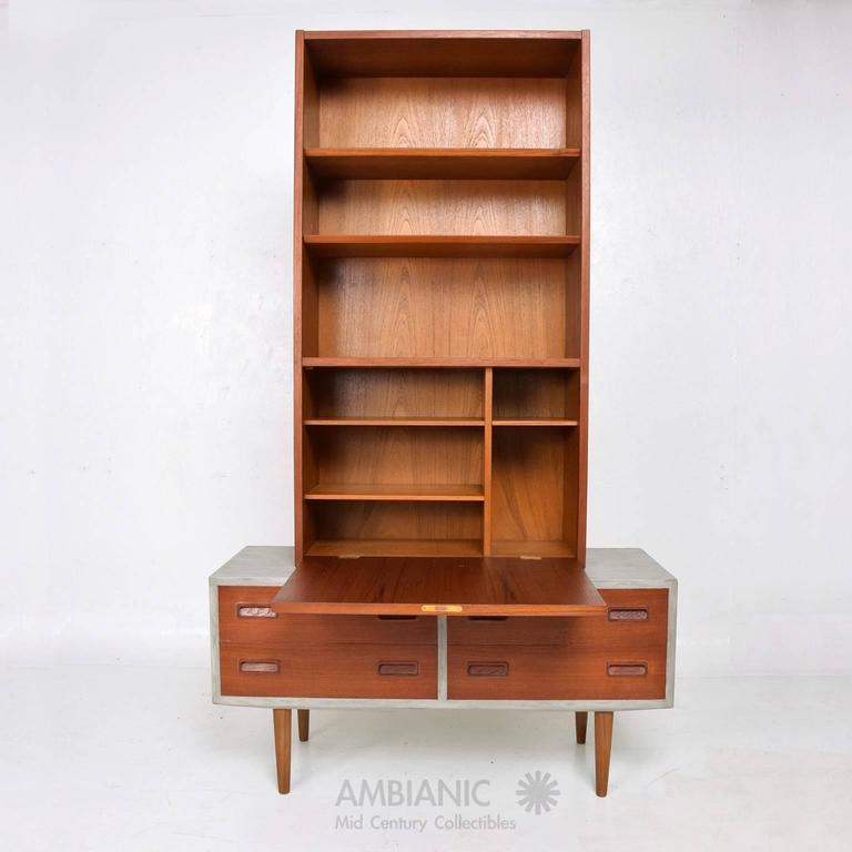 Scandinavian Modern Danish Modern Cabinet with Hutch Teak For Sale