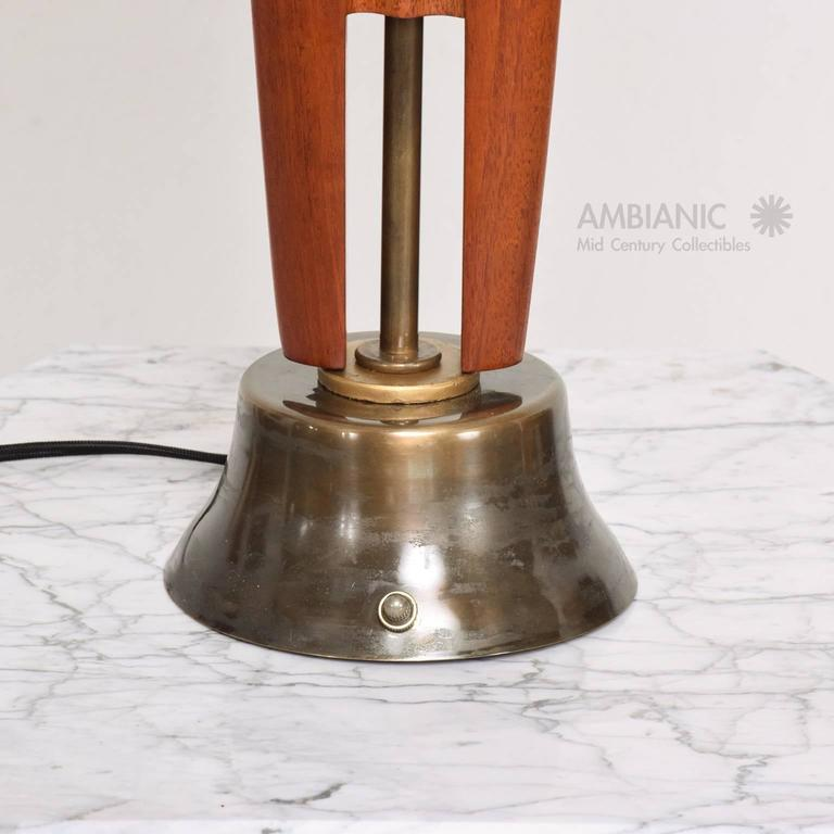 Mexican Modernist Table Lamp Mahogany and Brass 4