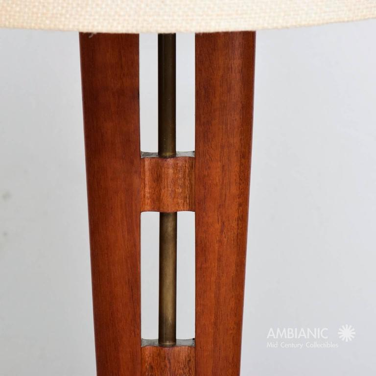 Mexican Modernist Table Lamp Mahogany and Brass 5