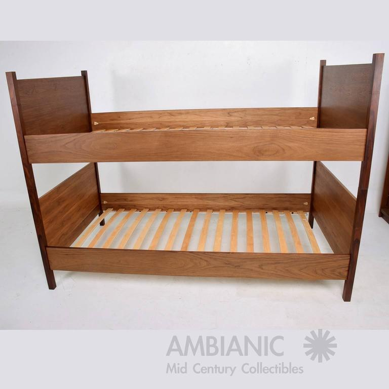 American Walnut and Rosewood Bunkbeds Modern For Sale