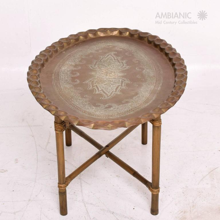Anglo Indian Brass And Bamboo Coffee Table Hollywood