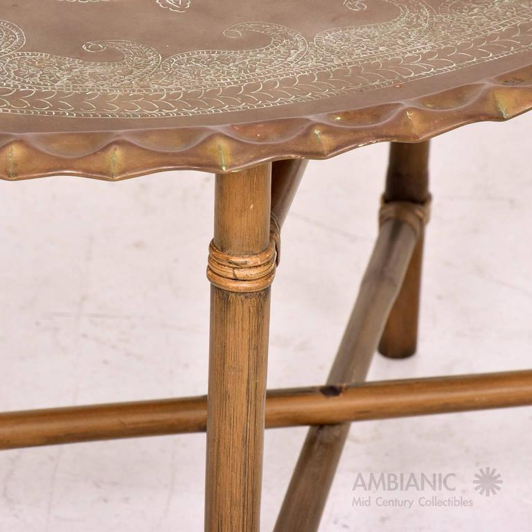 Anglo Indian Brass And Bamboo Coffee Table, Hollywood