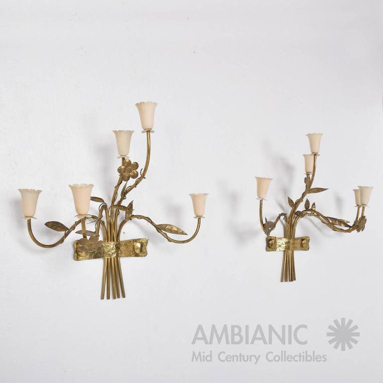 Contemporary Italian Wall Sconces : Mid-Century Modern Pair of Italian Wall Sconces Five Arms For Sale at 1stdibs