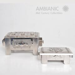 Set of two Modernist Stainless Steel Art Boxes, by Stanley Szwarc.