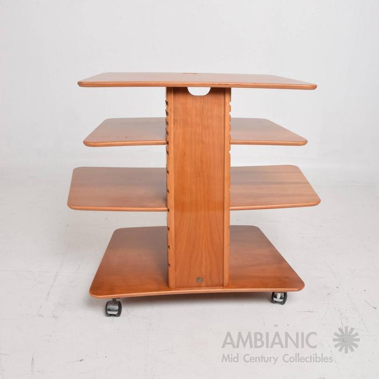 """For your consideration a Danish modern adjustable stand/table with wheels.  Stamped underneath with makers label """"Aksel Kjesgaard, Made in DENMARK""""  System can be taken apart for safe and easy shipping.   36 7/8"""" L X 23"""" D x 29 5/8"""""""