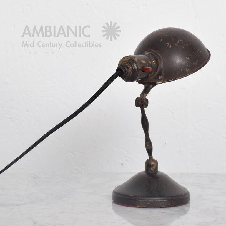 Metal Industrial Desk or Wall Sconce Lamp, Mid-Century Period For Sale