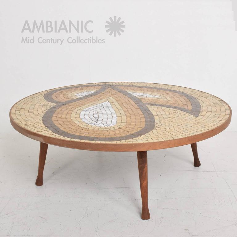 Mid-Century Modern Tile And Walnut Coffee Table At 1stdibs