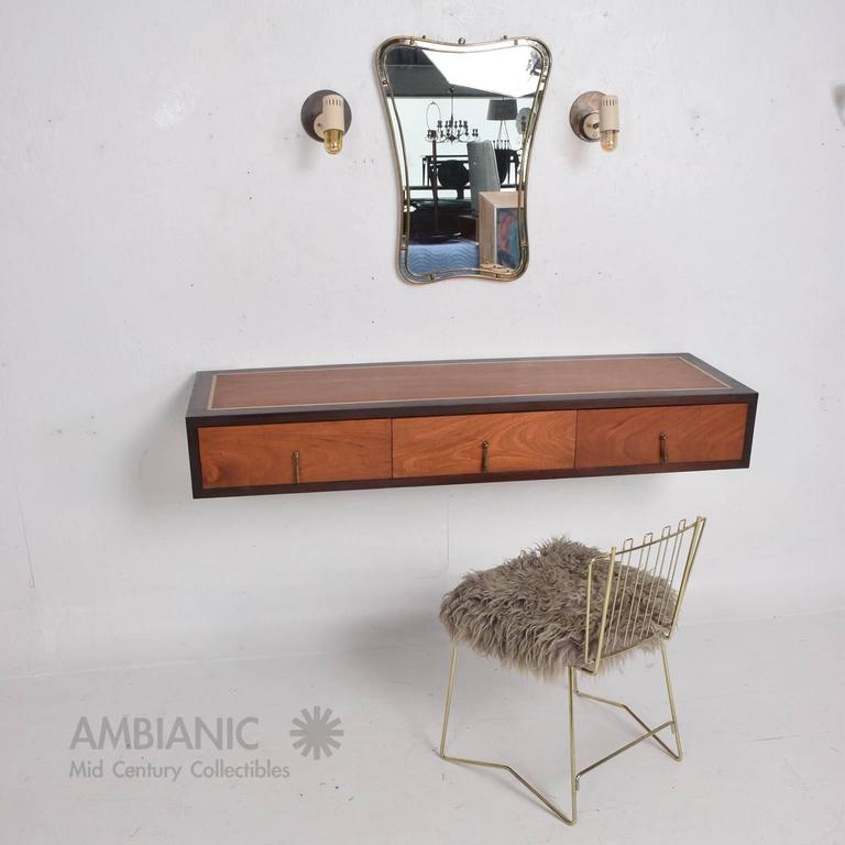 Mid-Century Modern Mahogany Wall Console Desk Table with Brass Accents For Sale