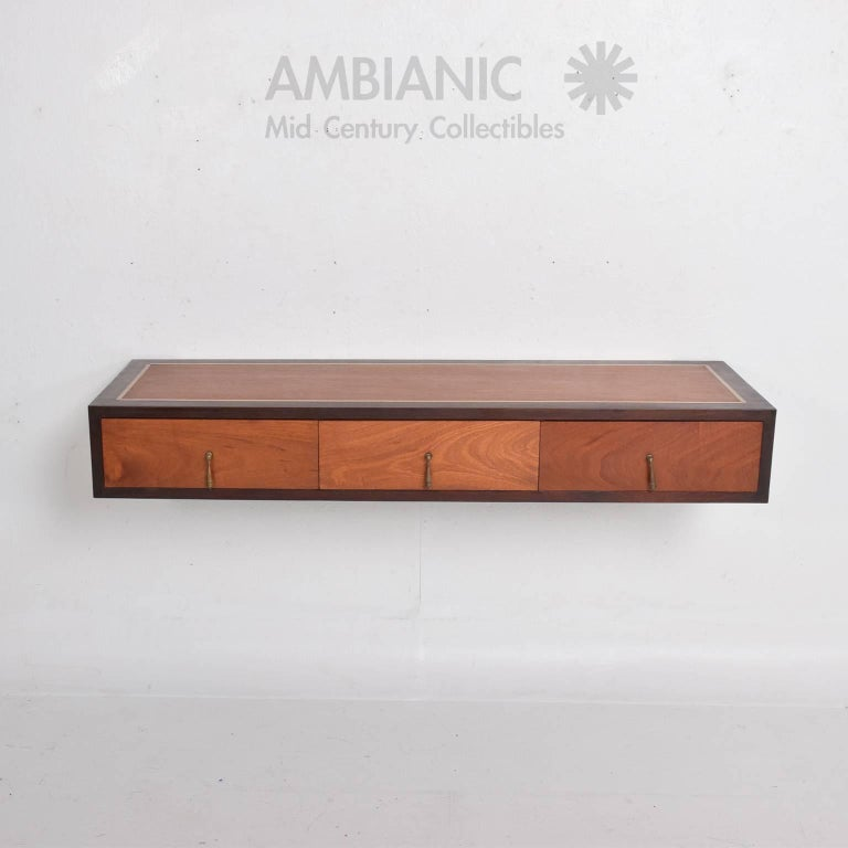 Mexican Mahogany Wall Console Desk Table with Brass Accents For Sale