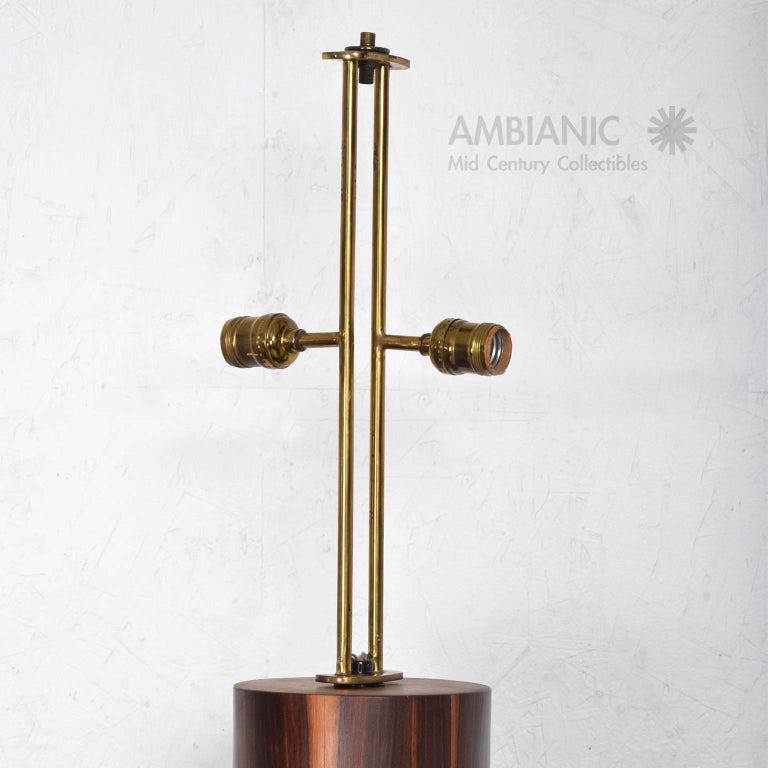 Custom Mexican Modernist Table Lamp in Rosewood and Brass #2 2