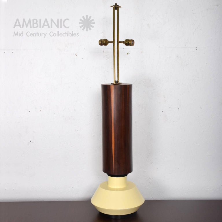 Custom Mexican Modernist Table Lamp in Rosewood and Brass #2 3