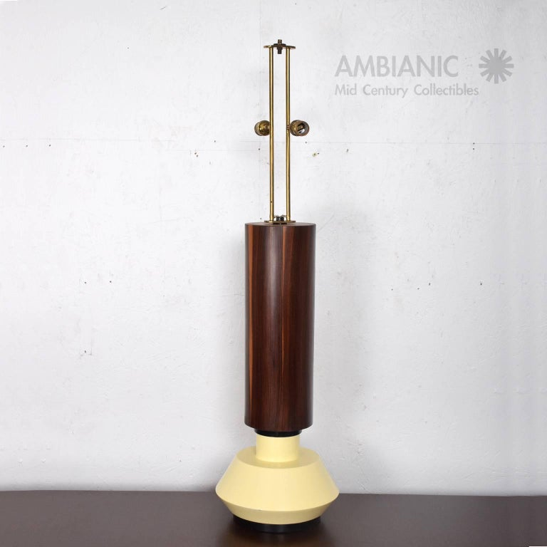 Custom Mexican Modernist Table Lamp in Rosewood and Brass #2 4