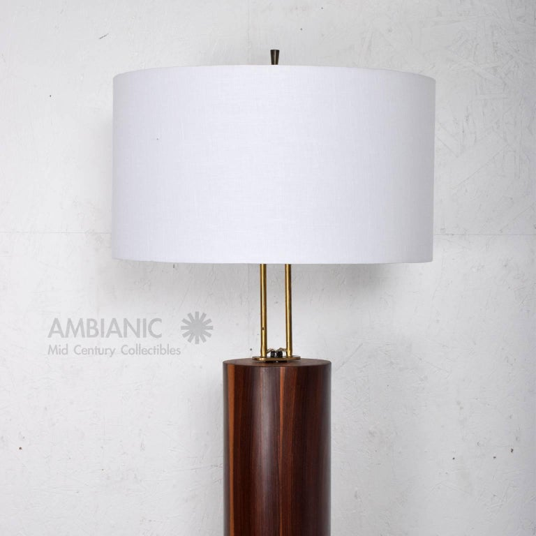 Custom Mexican Modernist Table Lamp in Rosewood and Brass #2 5