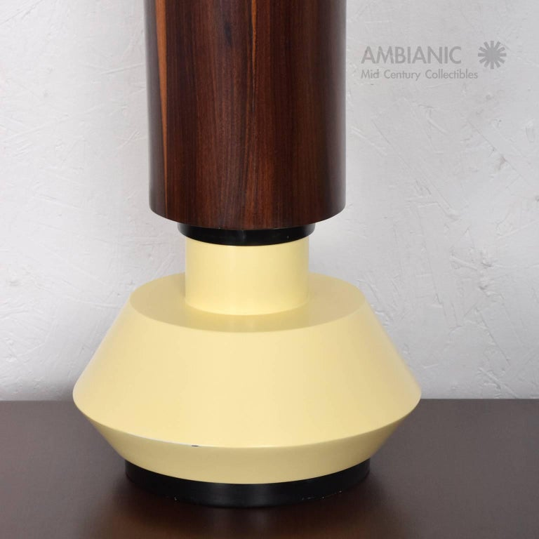 Custom Mexican Modernist Table Lamp in Rosewood and Brass #2 6
