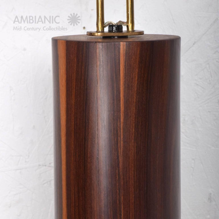 Custom Mexican Modernist Table Lamp in Rosewood and Brass #2 7