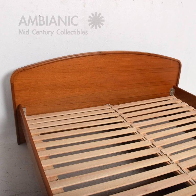 Sculptural danish modern teak platform base cal king bed at 1stdibs for Danish teak bedroom furniture