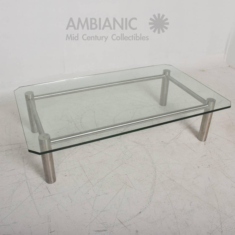 Glass Coffee Table With Stainless Steel Legs: Modern Stainless Steel And Glass Coffee Table By Benchmark