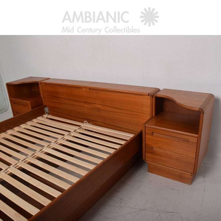 Danish Modern Teak Platform Bed Queen Size With