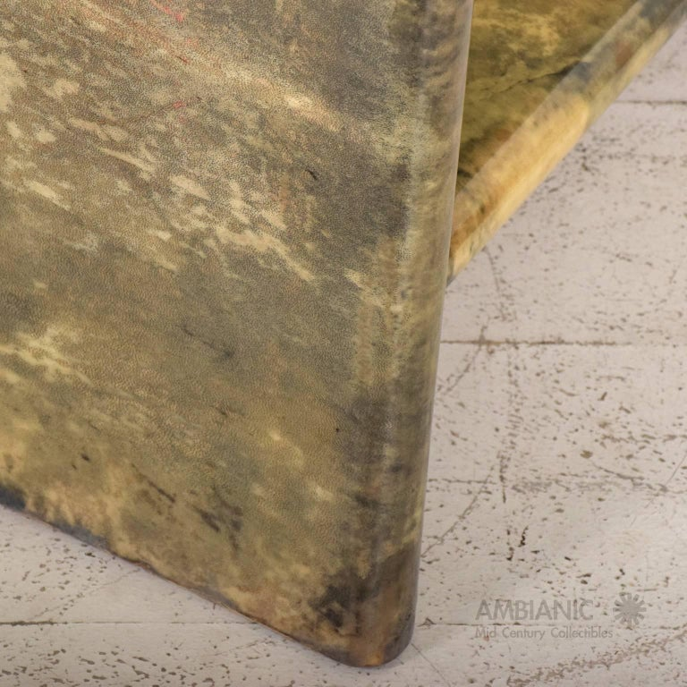 Brass Pair of Goatskin Parchment and Leather Side Tables For Sale