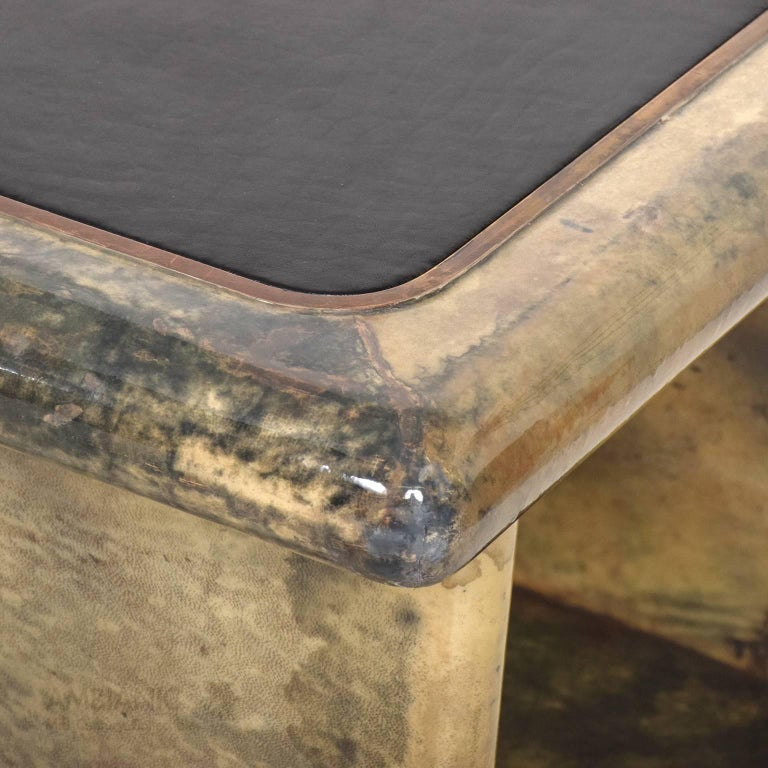 Pair of Goatskin Parchment and Leather Side Tables For Sale 1