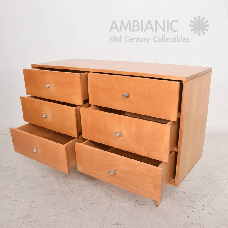 American Solid Wood Paul Mccobb Double Dresser Mid Century Period Iconic Aluminum Pulls For