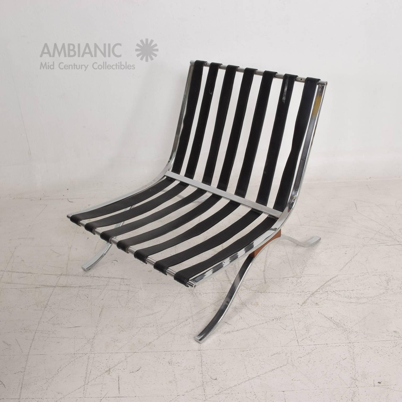 Mid Century Modern Selig Barcelona Chair Chrome And Naugahyde For Sale At  1stdibs