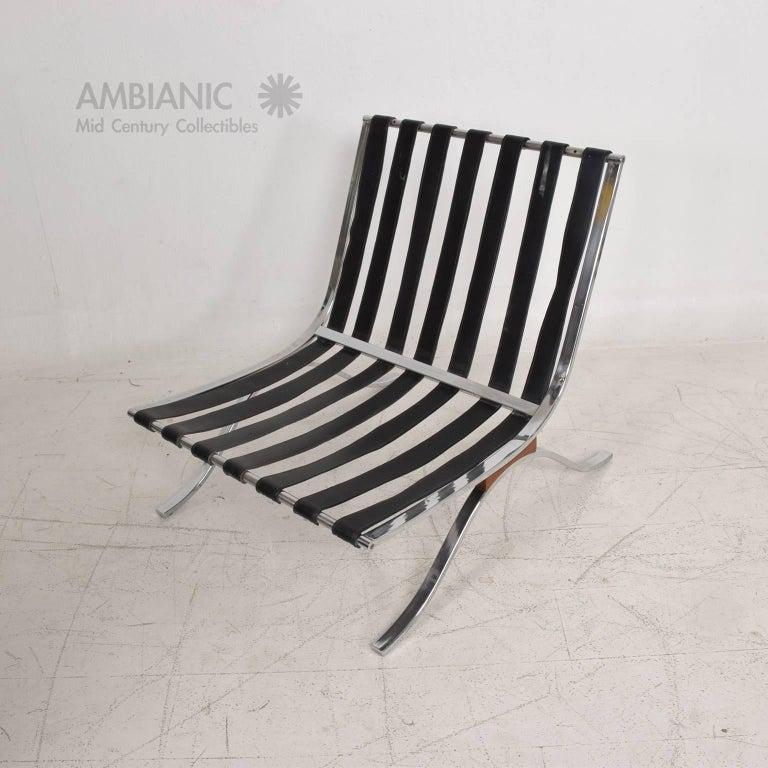 Mid Century Modern Selig Barcelona Chair Chrome And