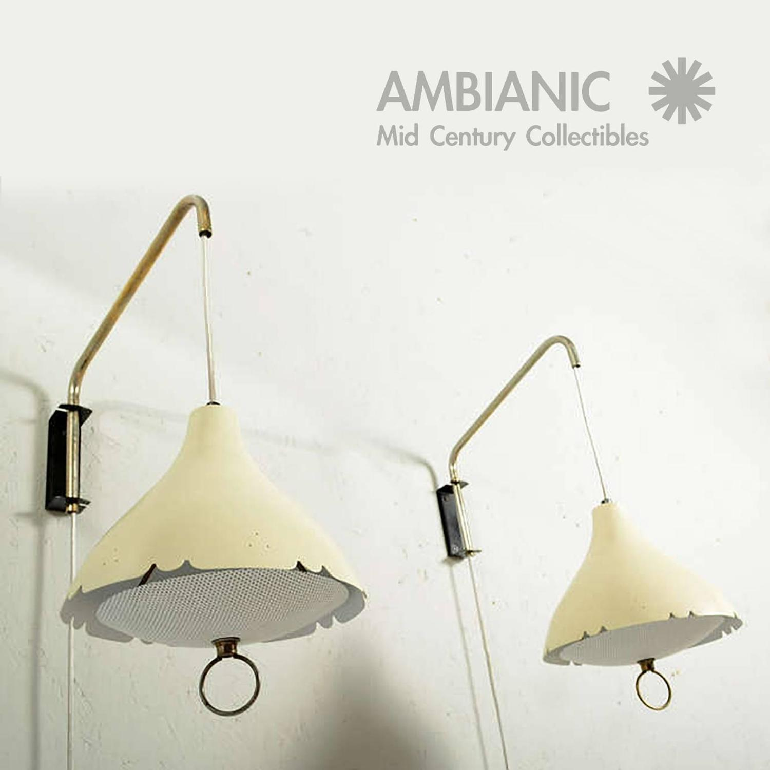 Mid Century Modern Pair of Wall Sconces After Lightolier For Sale at 1stdibs