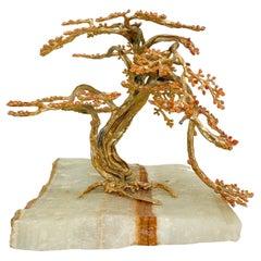 Exquisite Sculptural Modern Bonsai Tree Art in Quartzite Stone & Bronze 1970s