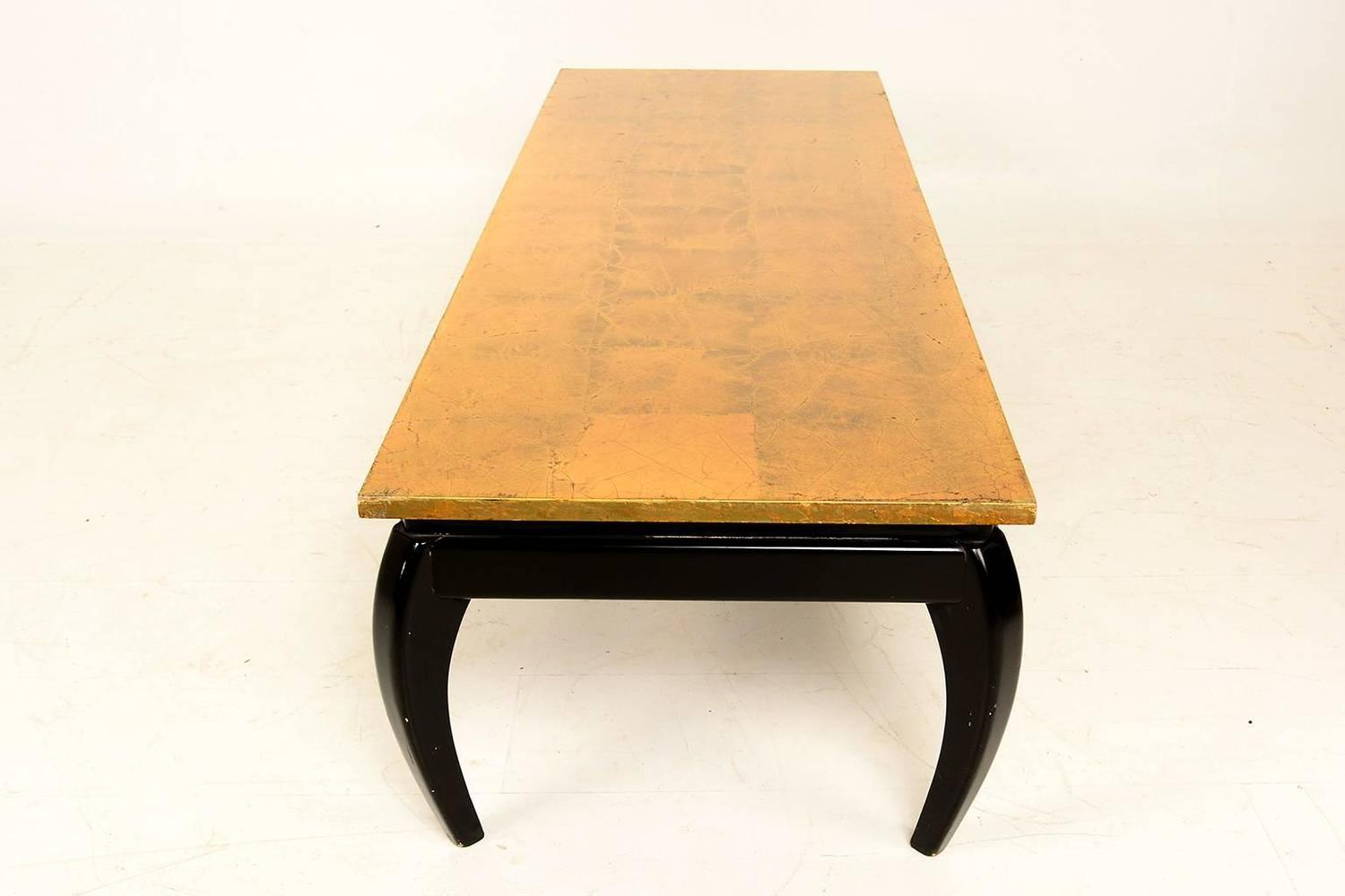 Gold Leaf And Black Lacquer Coffee Table After James Mont For Sale At