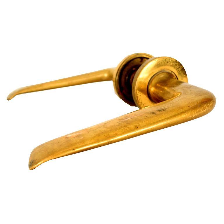 Pair Of Italian Door Handles In Solid Brass