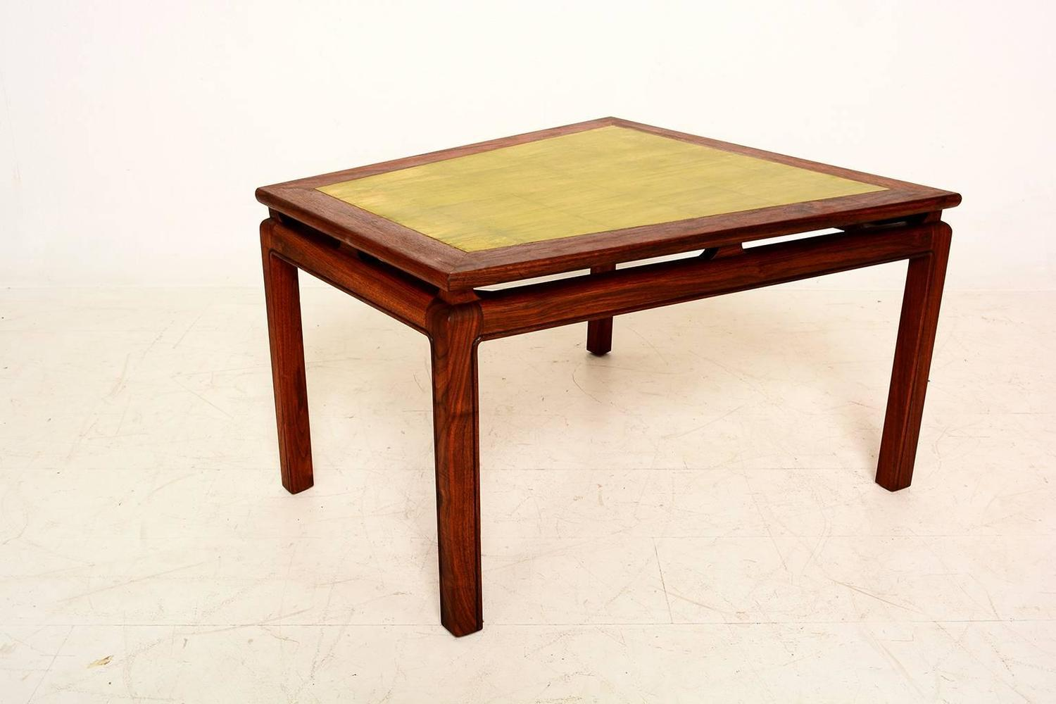 Wedge Side Table in Walnut and Gold Leaf Top For Sale at